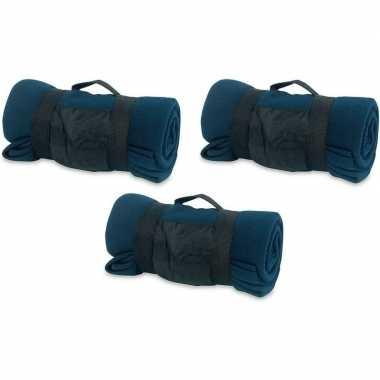 3x fleece dekens/plaids blauw afneembaar handvat 160 x 130 cm