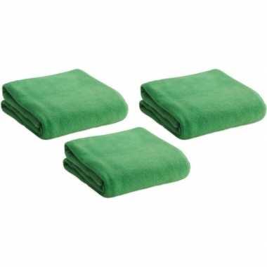 3x fleece dekens/plaids groen 120 x 150 cm