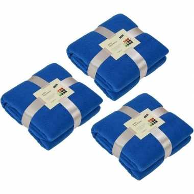 3x fleece dekens/plaids kobaltblauw 130 x 170 cm