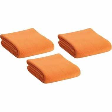 3x fleece dekens/plaids oranje 120 x 150 cm