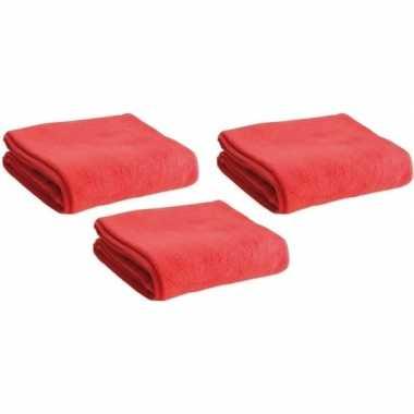 3x fleece dekens/plaids rood 120 x 150 cm