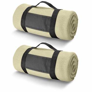 3x fleece dekens/plaids zandkleurig met afneembaar handvat 150 x 120 cm