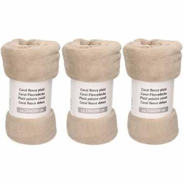 3x grijstaupe fleece dekens 150 x 200 cm