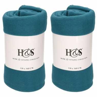 3x petrol blauwe fleece dekens/deken 130 x 160 cm