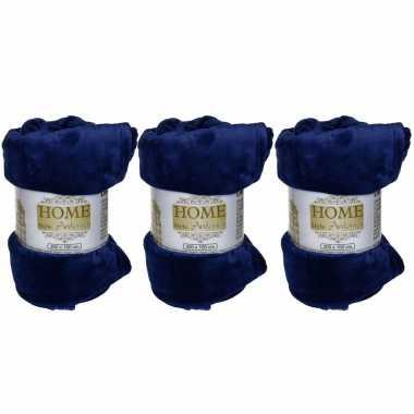 4x flanellen/fleece dekens/plaids kobalt blauw 150 x 200 cm