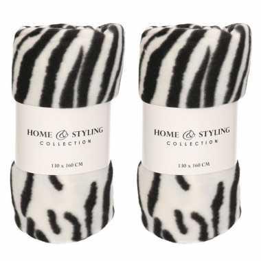 5x fleece dekens zebra print 130 x 160 cm