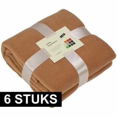6x fleece dekens/plaids camel 130 x 170 cm