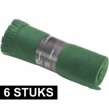 6x fleece dekens/plaids met franjes donker groen 130 x 170 cm