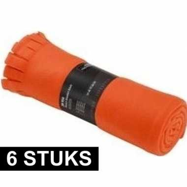6x fleece dekens/plaids met franjes oranje 130 x 170 cm