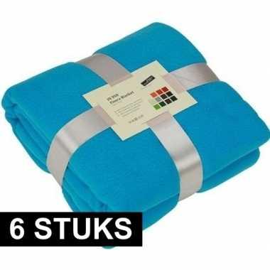 6x fleece dekens/plaids turquoise 130 x 170 cm