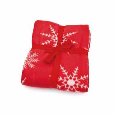 8x stuks fleece deken/plaid kerst rode sneeuwvlokken print 120 x 150 cm