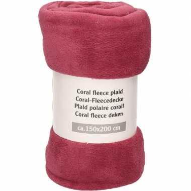 Antiek roze fleece deken 150 x 200 cm