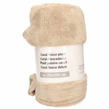 Beige fleece deken 150 x 200 cm