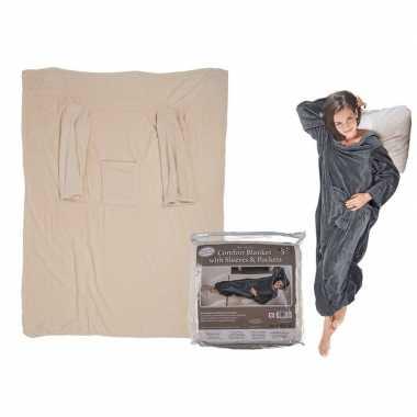Beige fleece deken met mouwen 135 x 172 cm