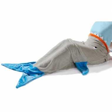 Blauw grijze haaienvin fleece deken 140 x 50 cm