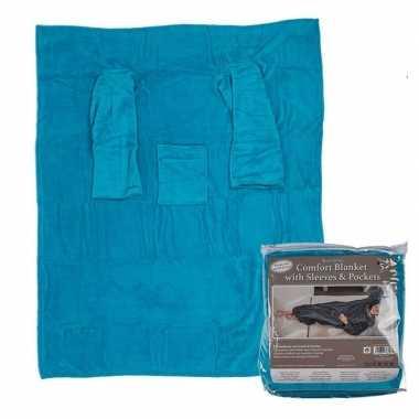 Blauwe fleece deken met mouwen 135 x 172 cm