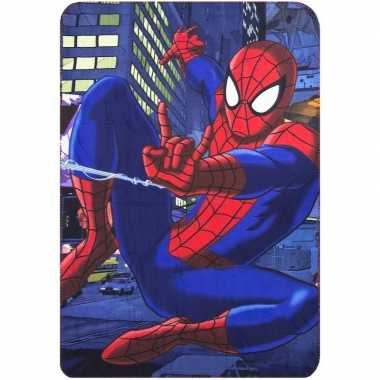 Blauwe spiderman fleece deken voor jongens
