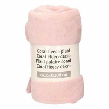 Bloesem roze fleece deken 150 x 200 cm