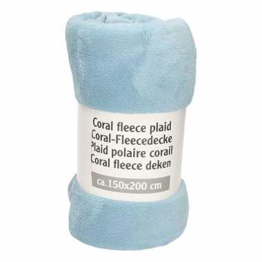 Donker babyblauwe fleece deken 150 x 200 cm