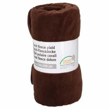 Donker bruine fleece deken 150 x 200 cm