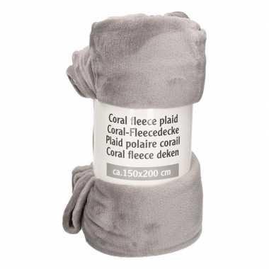 Donkergrijze fleece deken 150 x 200 cm
