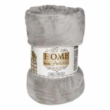 Flanellen/fleece deken/plaid grijs 150 x 200 cm