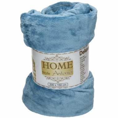 Flanellen/fleece deken/plaid staal blauw 150 x 200 cm