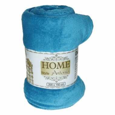 Flanellen/fleece deken/plaid turquoise blauw 150 x 200 cm