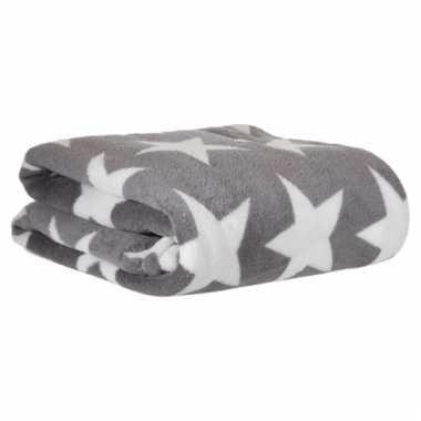 Fleece deken grijs met ster 130 x 170 cm