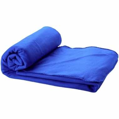 Fleece deken kobalt blauw 150 x 120 cm