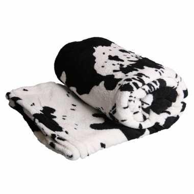 Fleece deken met koe print zwart wit