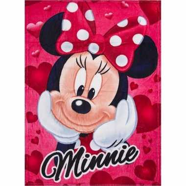Fleece deken minnie mouse rood 90 x 120 cm