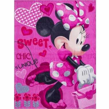 Fleece deken minnie mouse roze 90 x 120 cm