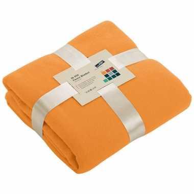 Fleece deken oranje