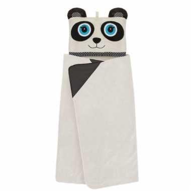 Fleece deken panda met capuchon