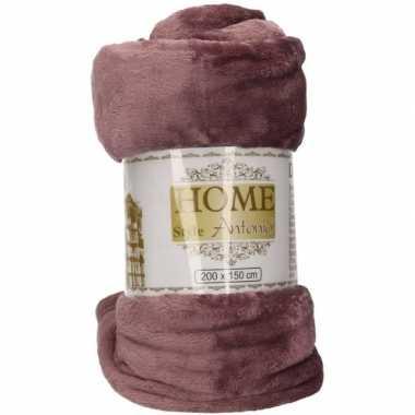 Fleece deken/plaid antiek paars 150 x 200 cm