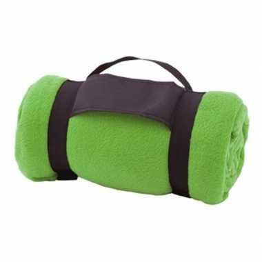 Fleece deken/plaid groen met afneembaar handvat 160 x 130 cm