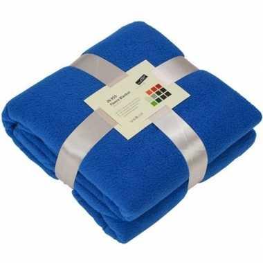 Fleece deken/plaid kobaltblauw 130 x 170 cm