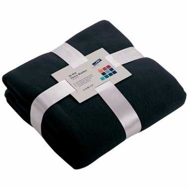 Fleece deken/plaid marineblauw 130 x 170 cm