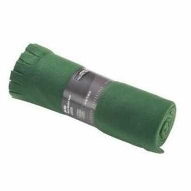 Fleece deken/plaid met franjes donker groen 130 x 170 cm