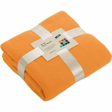 Fleece deken/plaid oranje 130 x 170 cm