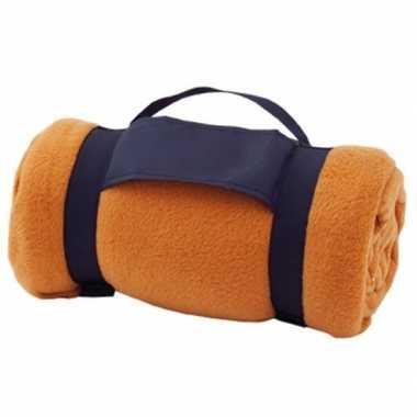 Fleece deken/plaid oranje met afneembaar handvat 160 x 130 cm