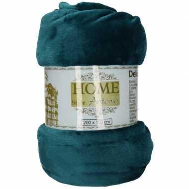 Fleece deken/plaid petrol blauw 150 x 200 cm