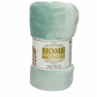 Fleece deken/plaid zacht aqua groen 150 x 200 cm
