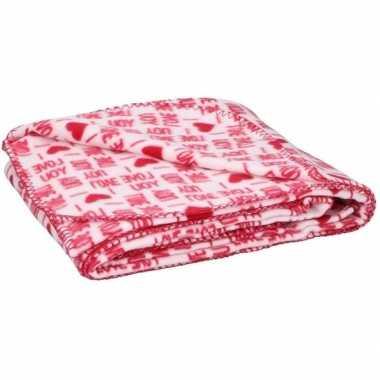 Fleece plaid deken rood met witte hartjes 120 x 160 cm