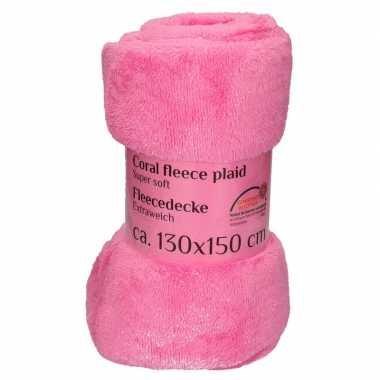 Fuchsia roze fleece deken 130 x 150 cm