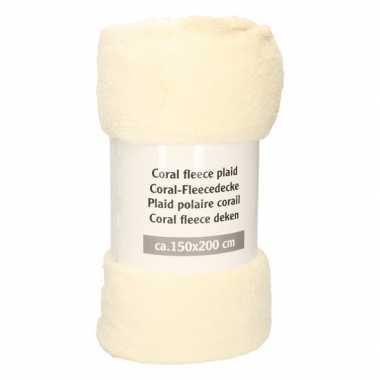 Geel beige fleece deken 150 x 200 cm
