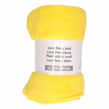 Gele fleece deken 150 x 200 cm