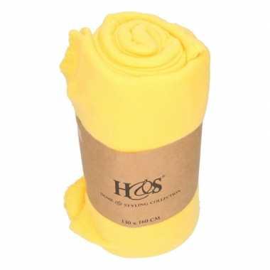 Goud gele fleece deken/deken 130 x 160 cm