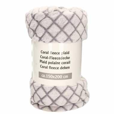 Grijs met ruitjes print fleece deken 150 x 200 cm